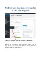 Modification mot de passe et infos perso